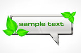 Square speech bubble with green leaves on white, vector