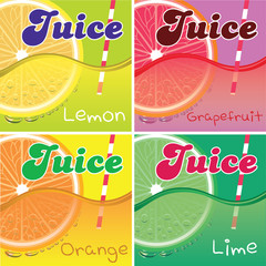 set of vector labels for packaging juice
