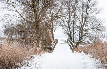 Wooden footbridge in winter