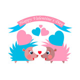 Two hedgehogs with hearts in their needles.
