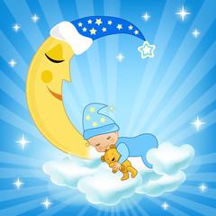 Baby sleeping on the cloud.