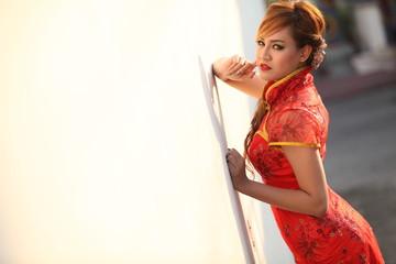 Portrait of woman Chinese dress
