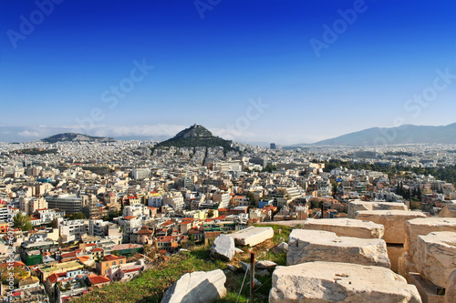 Fotobehang Athene Panorama view of Athens and mount Lycabettus