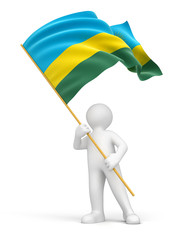 Man and Rwanda flag (clipping path included)