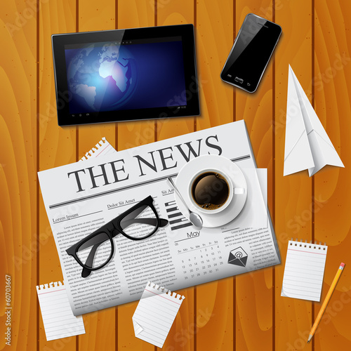 Newspaper, tablet, smartphone and glasses. Vector illustration