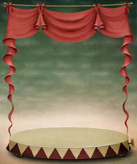 Red curtain and stage