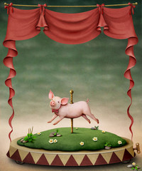 Poster or illustration of  pig on  pole