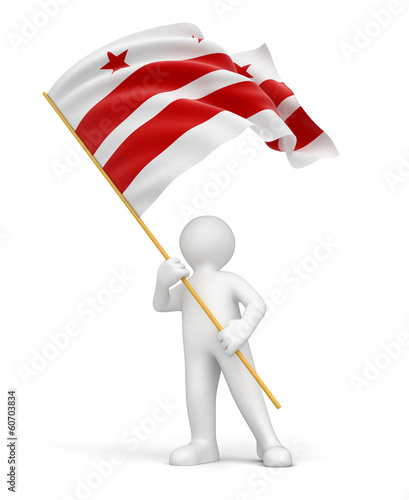 Man and flag of Washington D.C. (clipping path included)