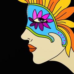 donna con maschera di carnevale