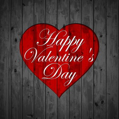 Happy Valentines Day - Red Heart Paper Sticker With Shadow on wo