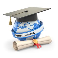 E-learning. Globe, diploma and mortar board.