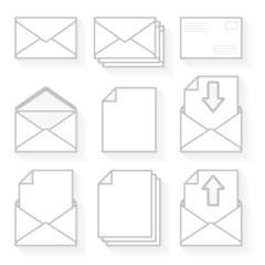 Set of icons envelopes and paper.
