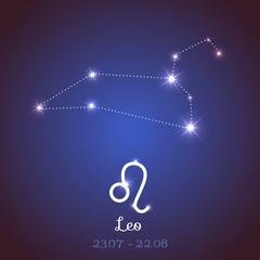 Vector zodiac horoscope constellation - Leo
