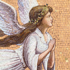 antique angelic decoration, mosaic on wall in Italy