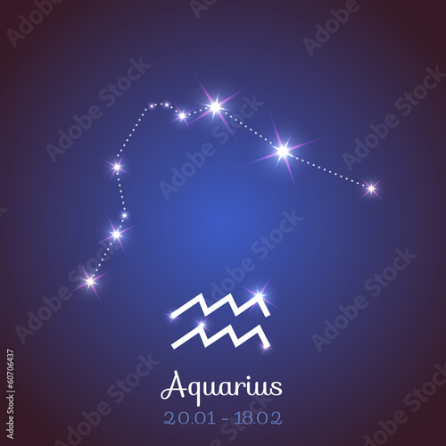 Vector zodiac horoscope constellation - Aquarius