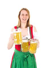 Waitress in dirndl serving beer for you