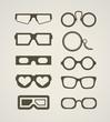 Vintage and modern glasses collection