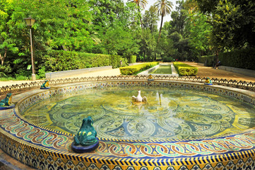 Maria Luisa Park in Seville, tiled fountain, Spain