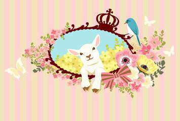 子ヒツジと小花と青い鳥 ピンク