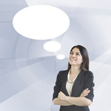 Smart Business Woman With Speech Bubble  For Background