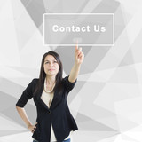 Smart Business Woman With Contact Us Concept