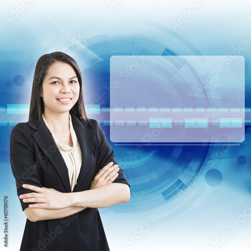 Smart Business Woman With Blank Screen For Background