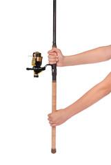 fishing rod, reel in hands