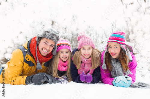 canvas print picture winter family
