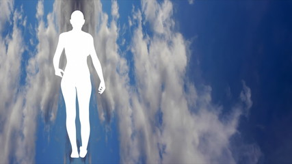 Silhouette of a woman walking with sky background.