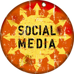 retro social media sign, grungy , vector illustration
