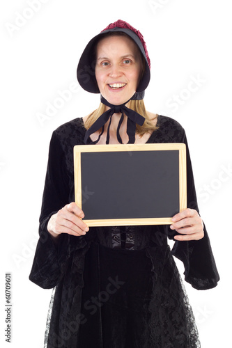 Medieval teacher showing clean blackboard
