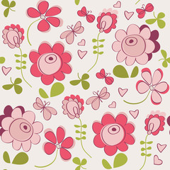 Seamless pattern with flowers and butterfly. Cute seamless.