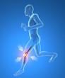 Uomo scheletro in corsa dolore infiammazione ginocchio