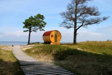 barrel house with sea view