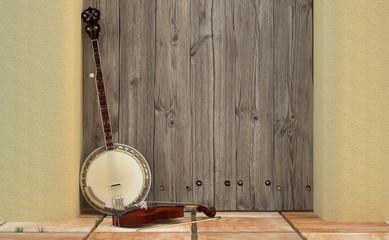 Banjo y violín sobre puerta de granero