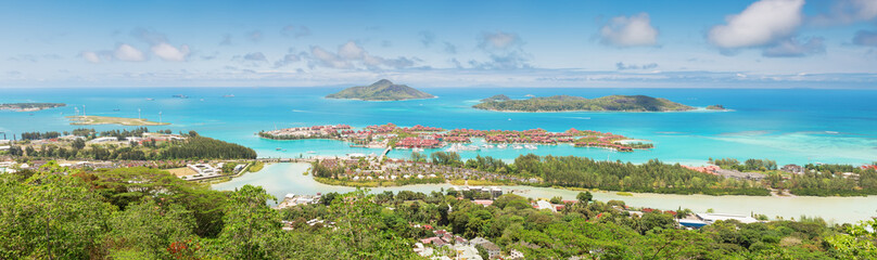 Panoramic view of the coastline of the Seychelles Islands and Ed