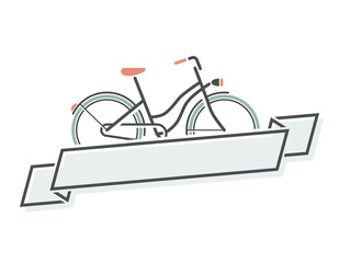 Retro bicycle and ribbon. Vector illustration.