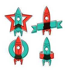 Space rocket symbols. Vector illustration.