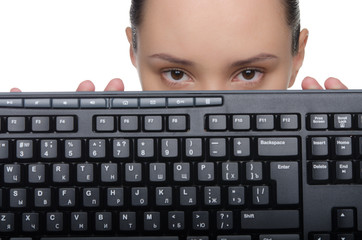 Woman holding a keyboard