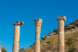 Stone pillars at Ephesus in Turkey