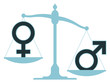 Unbalanced scale with male and female icons