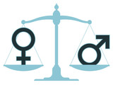 Scale in equilibrium with male and female icons