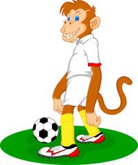monkey cartoon playing soccer ball