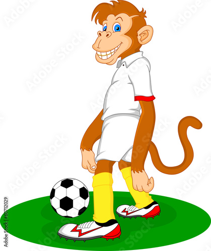 monkey cartoon playing soccer ball