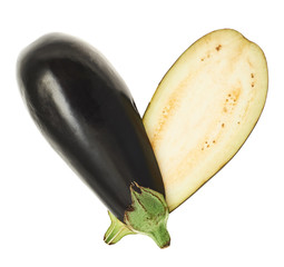 Heart shape made of eggplant halves