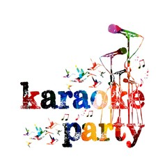 Colorful music karaoke party background with hummingbirds