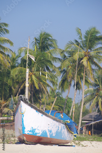 Fishing boats in tropical beach, Goa