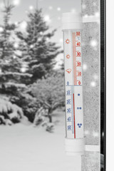 cold winter thermometer