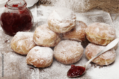 Fresh donuts with jam