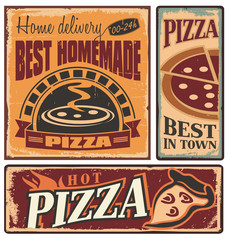Retro metal signs set for pizzeria or Italian restaurant